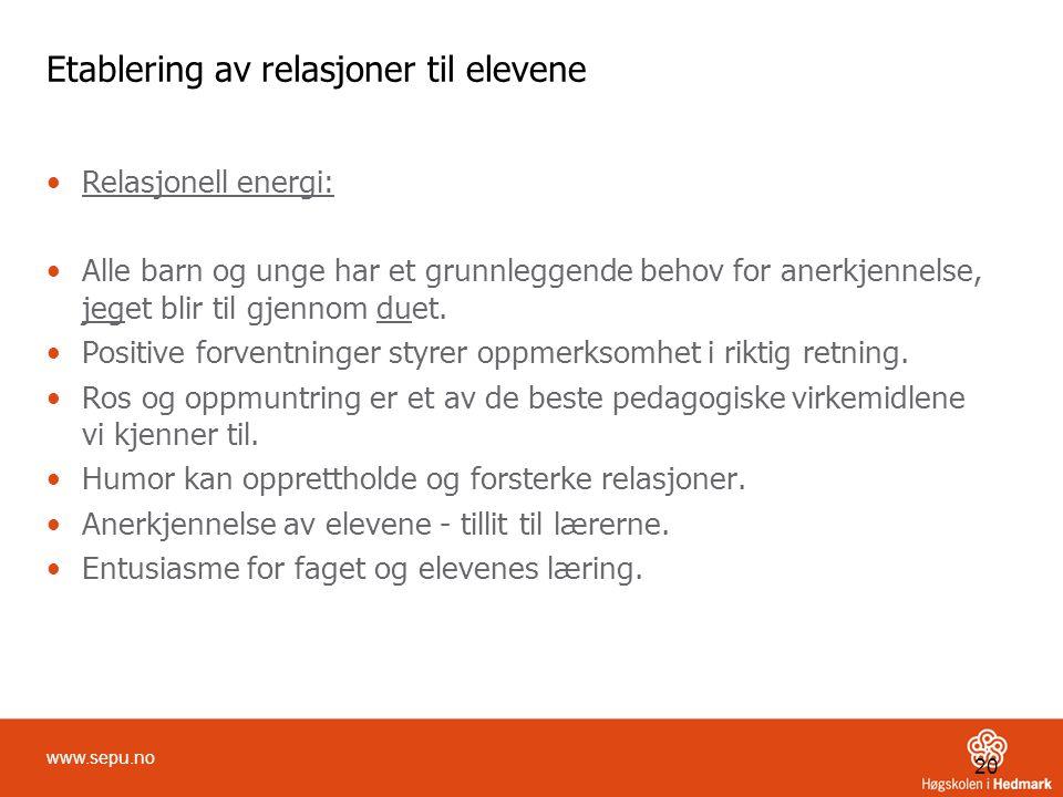 Etablering av relasjoner til elevene