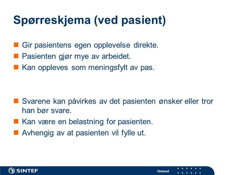 Spørreskjema (ved pasient)