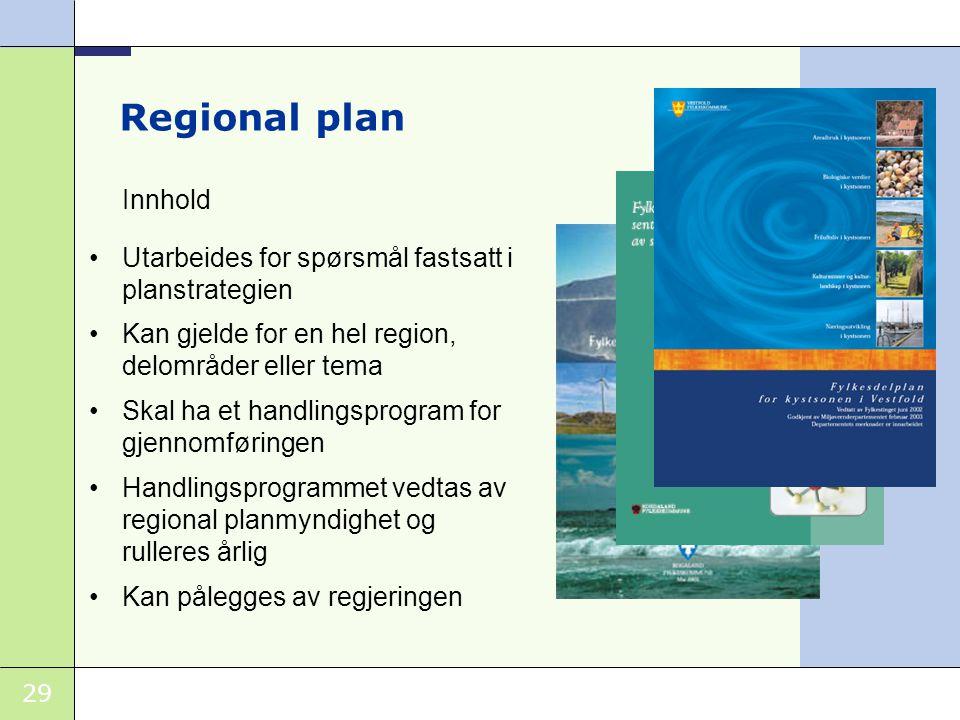 Regional plan Innhold. Utarbeides for spørsmål fastsatt i planstrategien. Kan gjelde for en hel region, delområder eller tema.