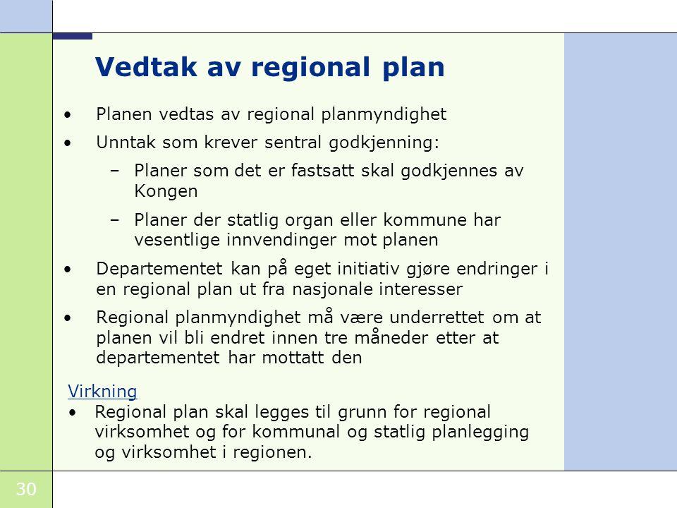 Vedtak av regional plan