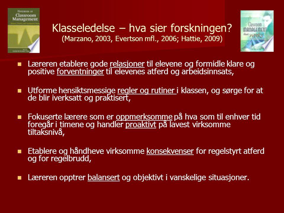 Klasseledelse – hva sier forskningen. (Marzano, 2003, Evertson mfl