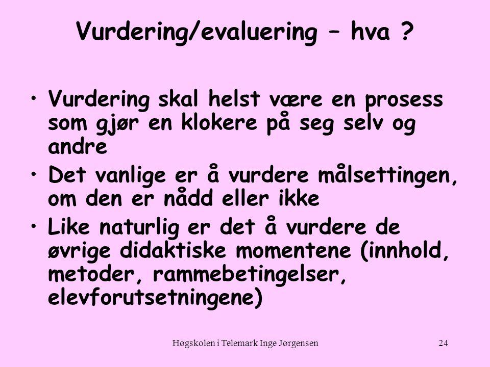 Vurdering/evaluering – hva
