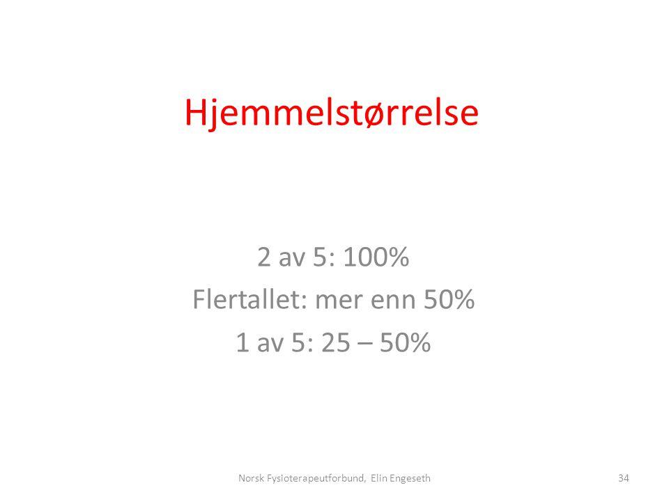 2 av 5: 100% Flertallet: mer enn 50% 1 av 5: 25 – 50%