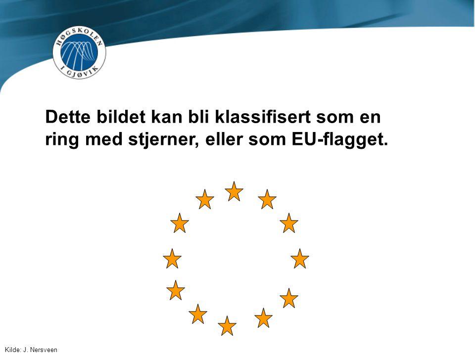 Dette bildet kan bli klassifisert som en ring med stjerner, eller som EU-flagget.