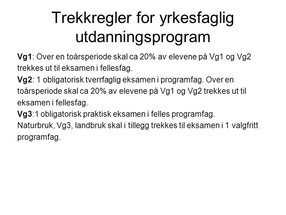 Trekkregler for yrkesfaglig utdanningsprogram