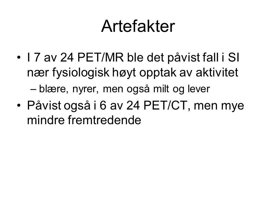 Artefakter I 7 av 24 PET/MR ble det påvist fall i SI nær fysiologisk høyt opptak av aktivitet. blære, nyrer, men også milt og lever.
