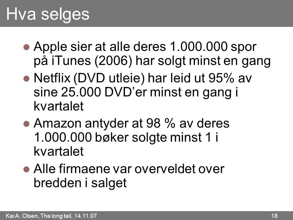 Hva selges Apple sier at alle deres 1.000.000 spor på iTunes (2006) har solgt minst en gang.