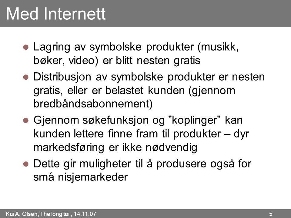 Med Internett Lagring av symbolske produkter (musikk, bøker, video) er blitt nesten gratis.