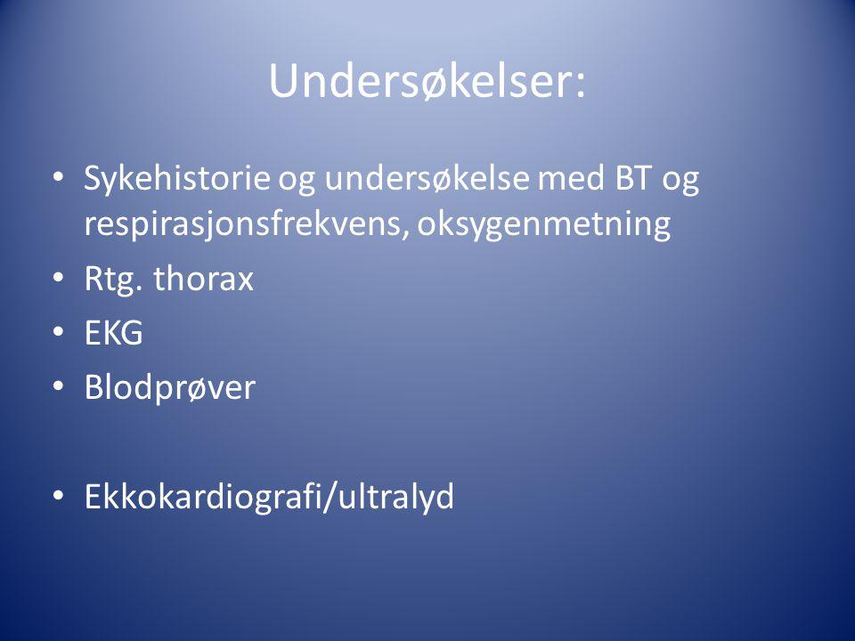 Undersøkelser: Sykehistorie og undersøkelse med BT og respirasjonsfrekvens, oksygenmetning. Rtg. thorax.