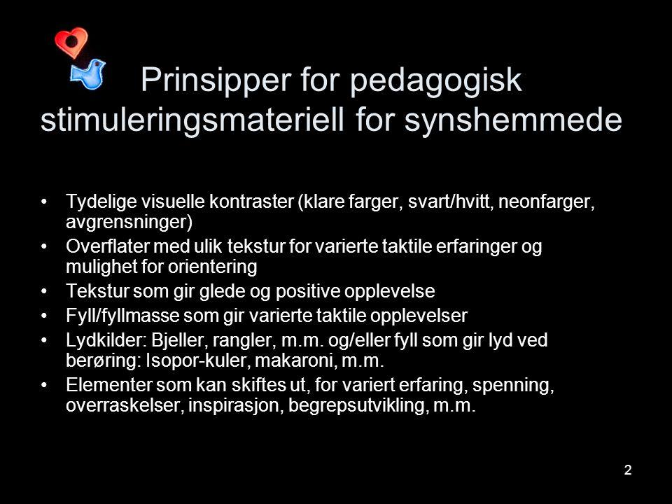Prinsipper for pedagogisk stimuleringsmateriell for synshemmede