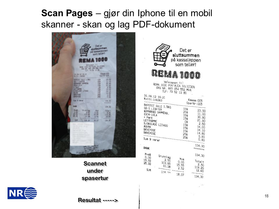 Scan Pages – gjør din Iphone til en mobil skanner - skan og lag PDF-dokument
