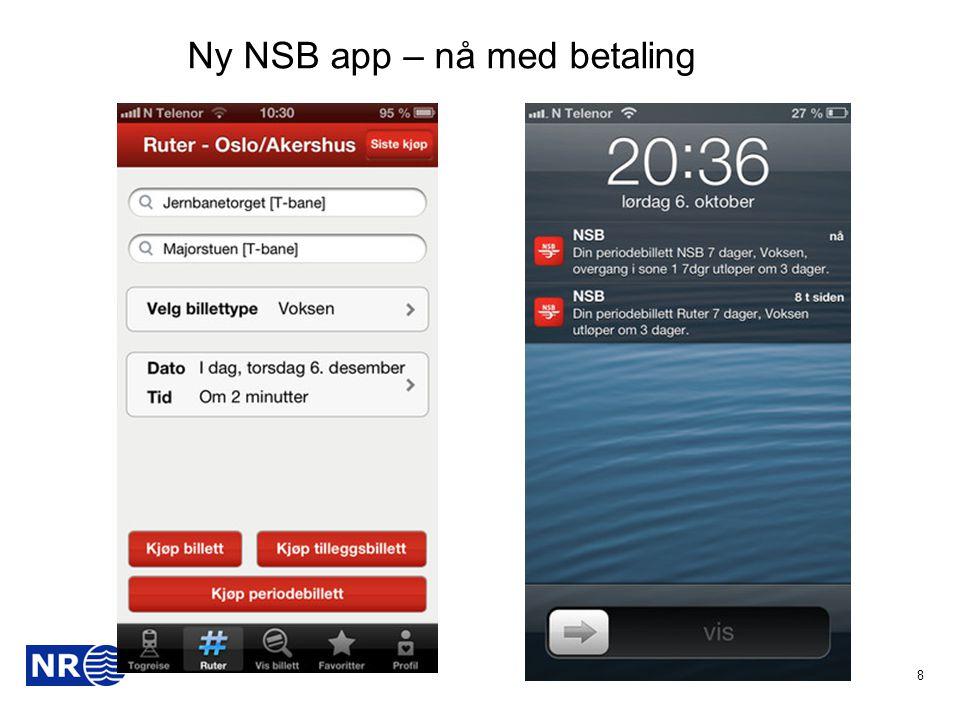 Ny NSB app – nå med betaling