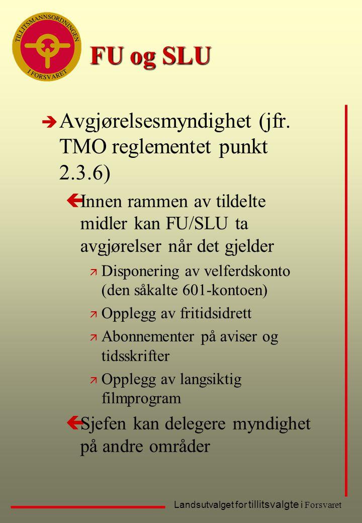 FU og SLU Avgjørelsesmyndighet (jfr. TMO reglementet punkt 2.3.6)