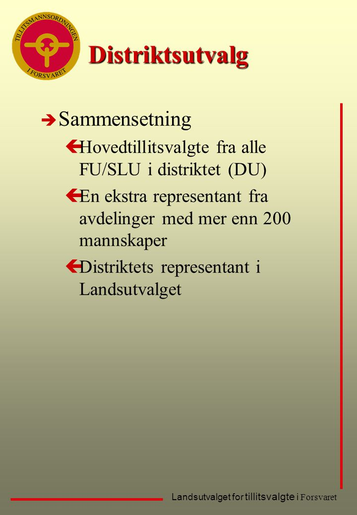 Distriktsutvalg Sammensetning