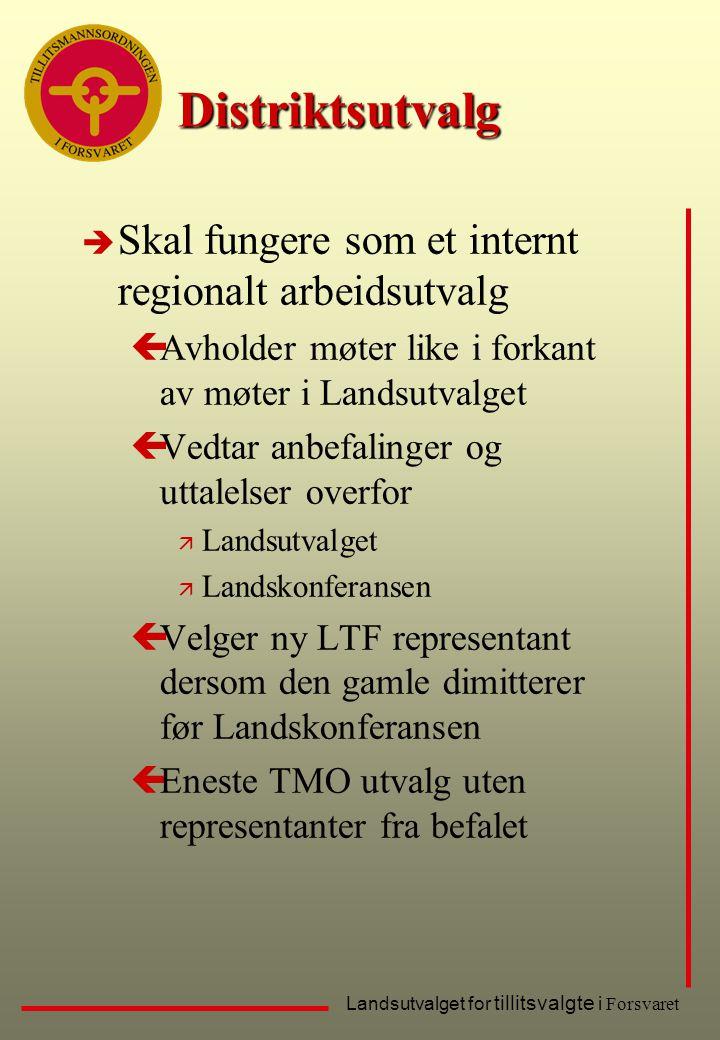 Distriktsutvalg Skal fungere som et internt regionalt arbeidsutvalg