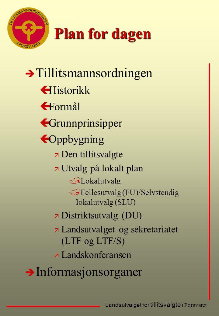 Plan for dagen Tillitsmannsordningen Informasjonsorganer Historikk