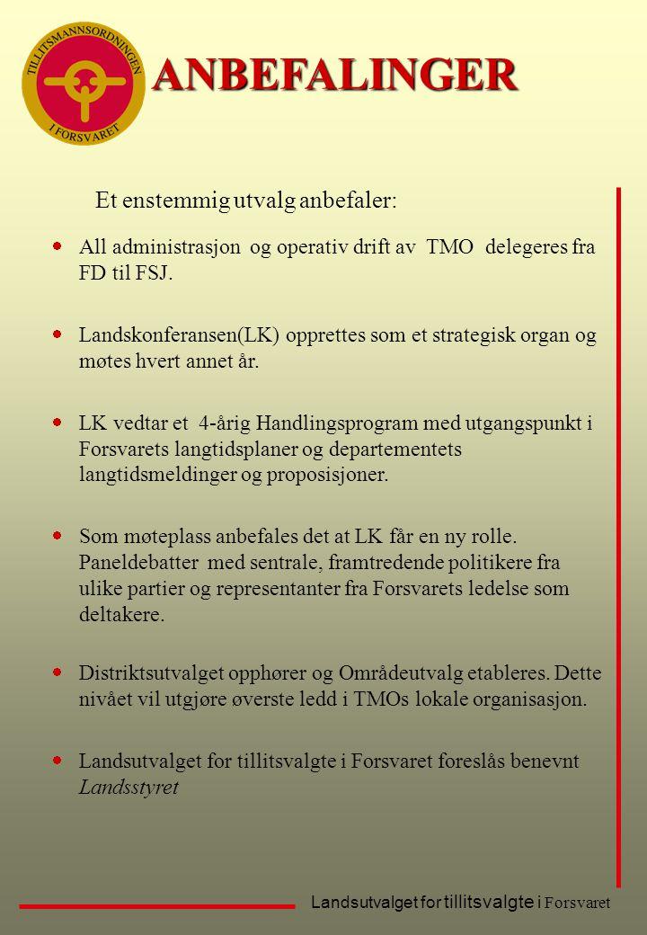 ANBEFALINGER Et enstemmig utvalg anbefaler: