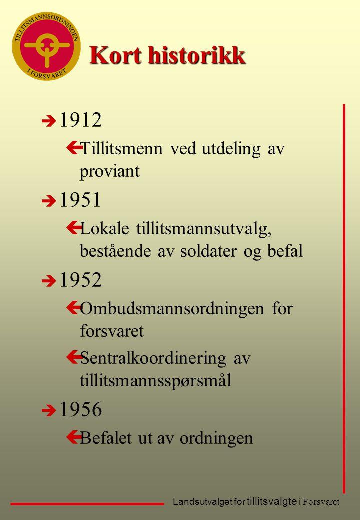 Kort historikk 1912. Tillitsmenn ved utdeling av proviant. 1951. Lokale tillitsmannsutvalg, bestående av soldater og befal.