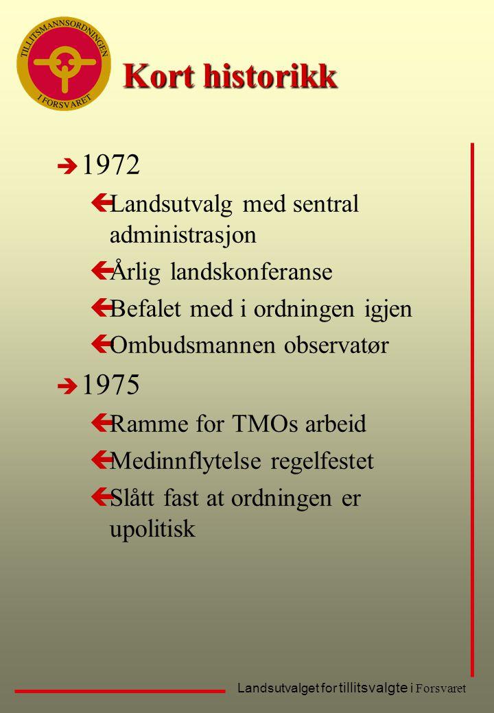 Kort historikk 1972 1975 Landsutvalg med sentral administrasjon