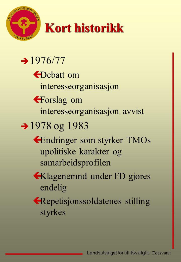 Kort historikk 1976/77 1978 og 1983 Debatt om interesseorganisasjon