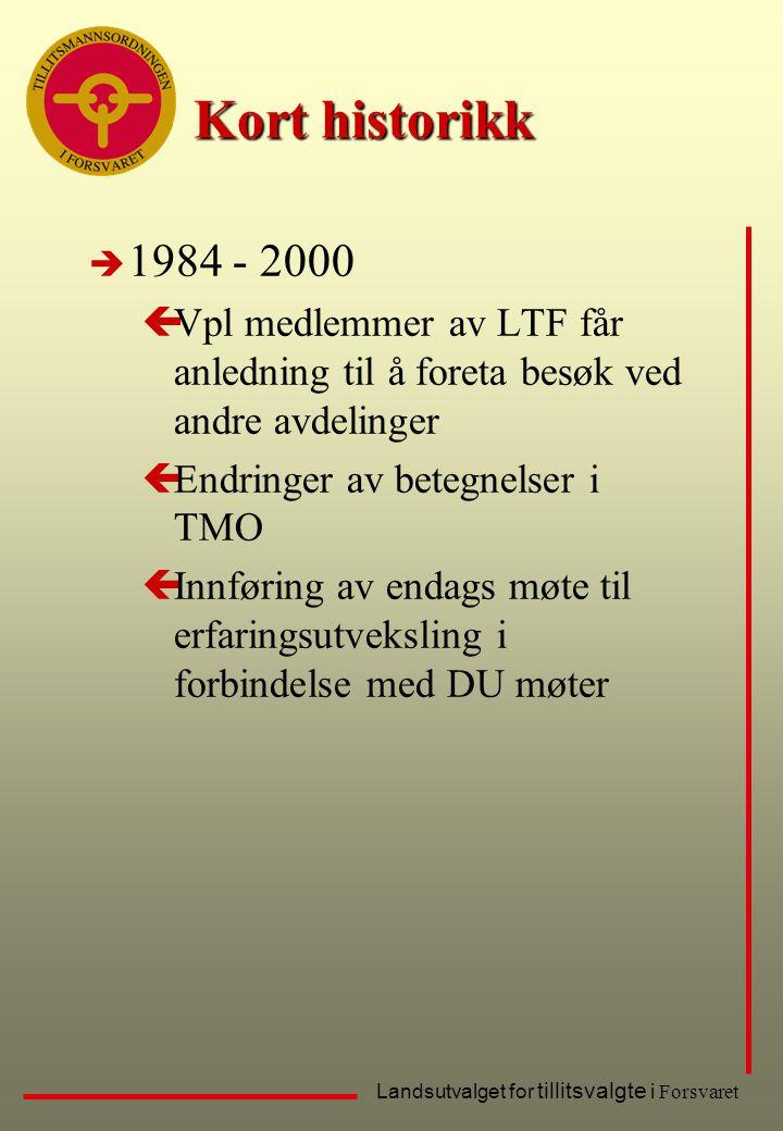 Kort historikk 1984 - 2000. Vpl medlemmer av LTF får anledning til å foreta besøk ved andre avdelinger.