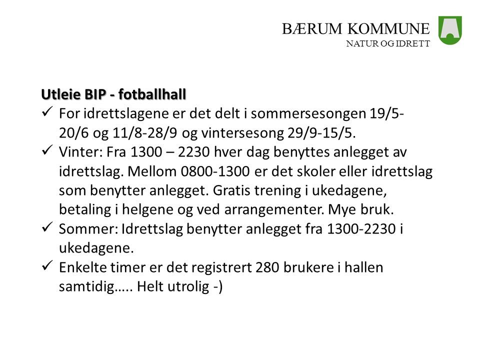 Utleie BIP - fotballhall
