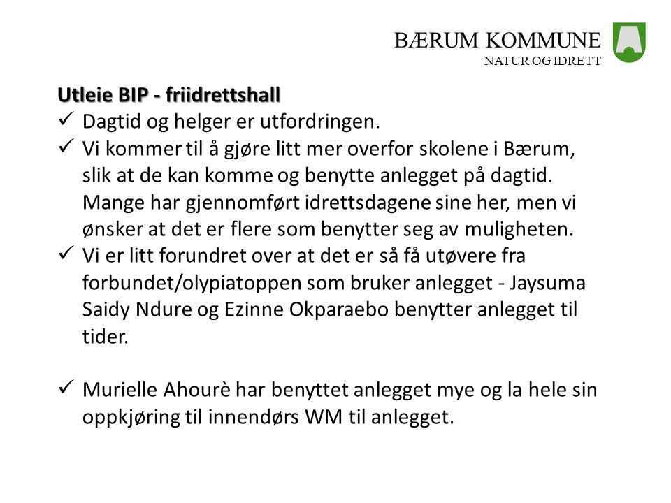 Utleie BIP - friidrettshall Dagtid og helger er utfordringen.