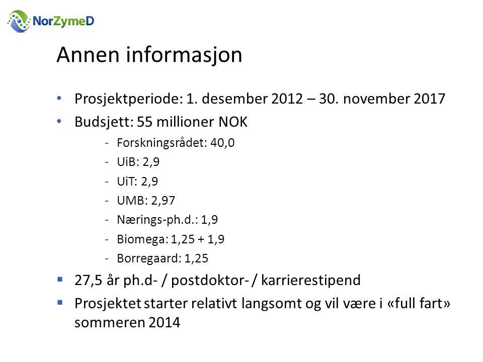 Annen informasjon Prosjektperiode: 1. desember 2012 – 30. november 2017. Budsjett: 55 millioner NOK.
