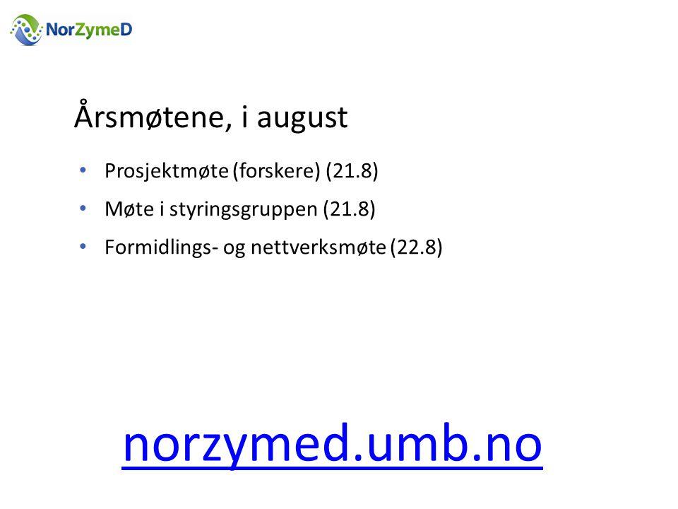 norzymed.umb.no Årsmøtene, i august Prosjektmøte (forskere) (21.8)