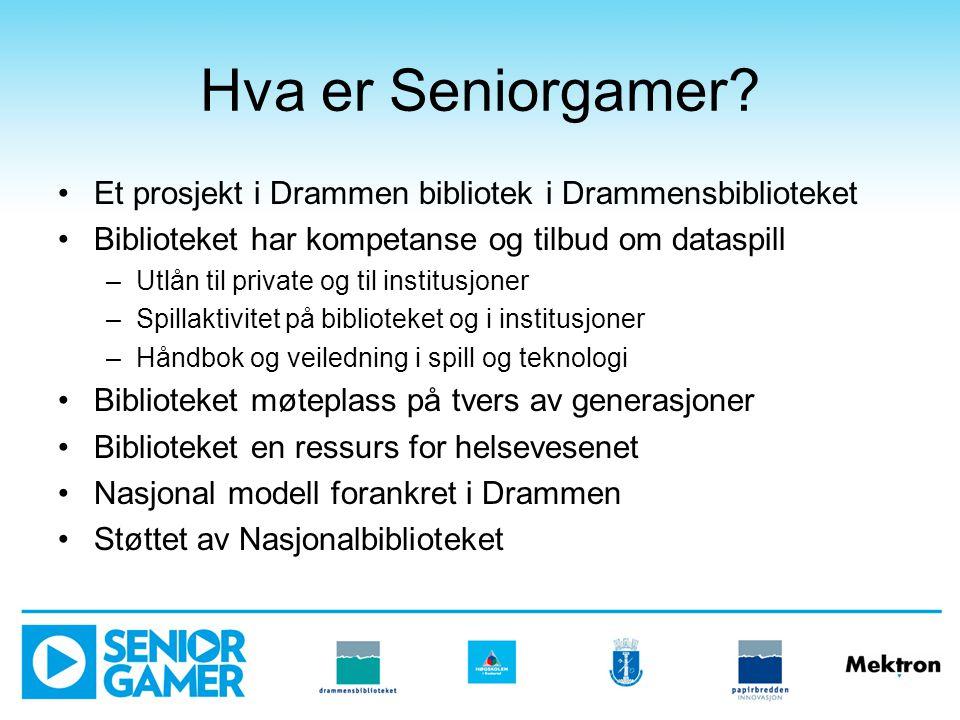 Hva er Seniorgamer Et prosjekt i Drammen bibliotek i Drammensbiblioteket. Biblioteket har kompetanse og tilbud om dataspill.