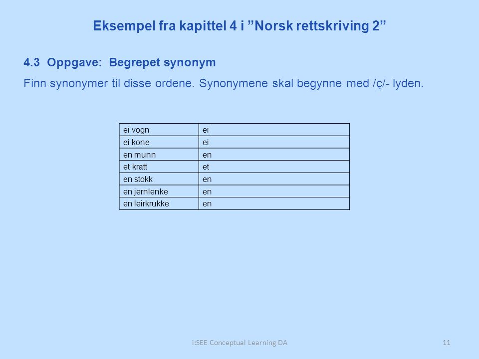 Eksempel fra kapittel 4 i Norsk rettskriving 2