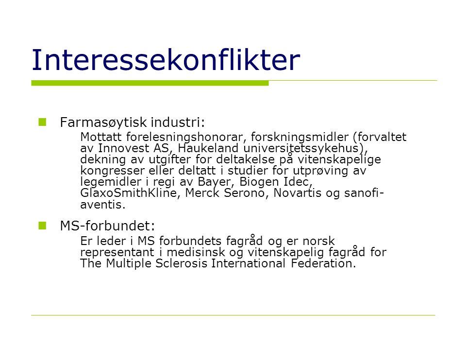 Interessekonflikter Farmasøytisk industri: MS-forbundet: