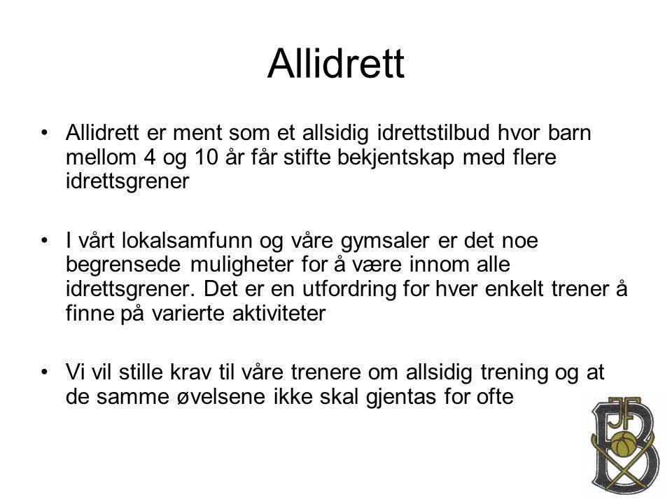 Allidrett Allidrett er ment som et allsidig idrettstilbud hvor barn mellom 4 og 10 år får stifte bekjentskap med flere idrettsgrener.