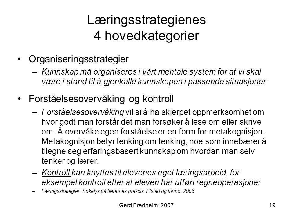 Læringsstrategienes 4 hovedkategorier
