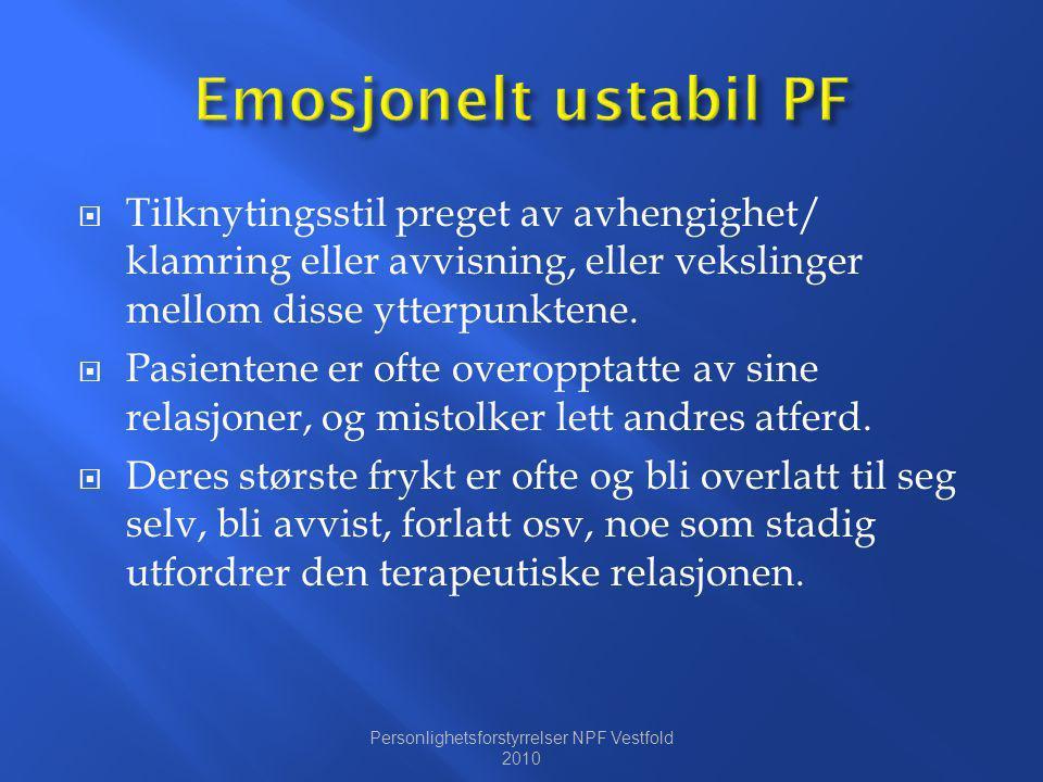 Personlighetsforstyrrelser NPF Vestfold 2010
