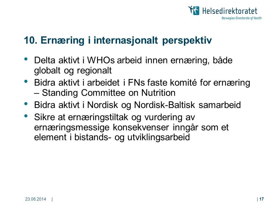 10. Ernæring i internasjonalt perspektiv