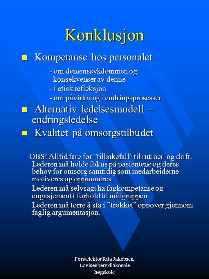 Førstelektor Rita Jakobsen, Lovisenberg diakonale høgskole