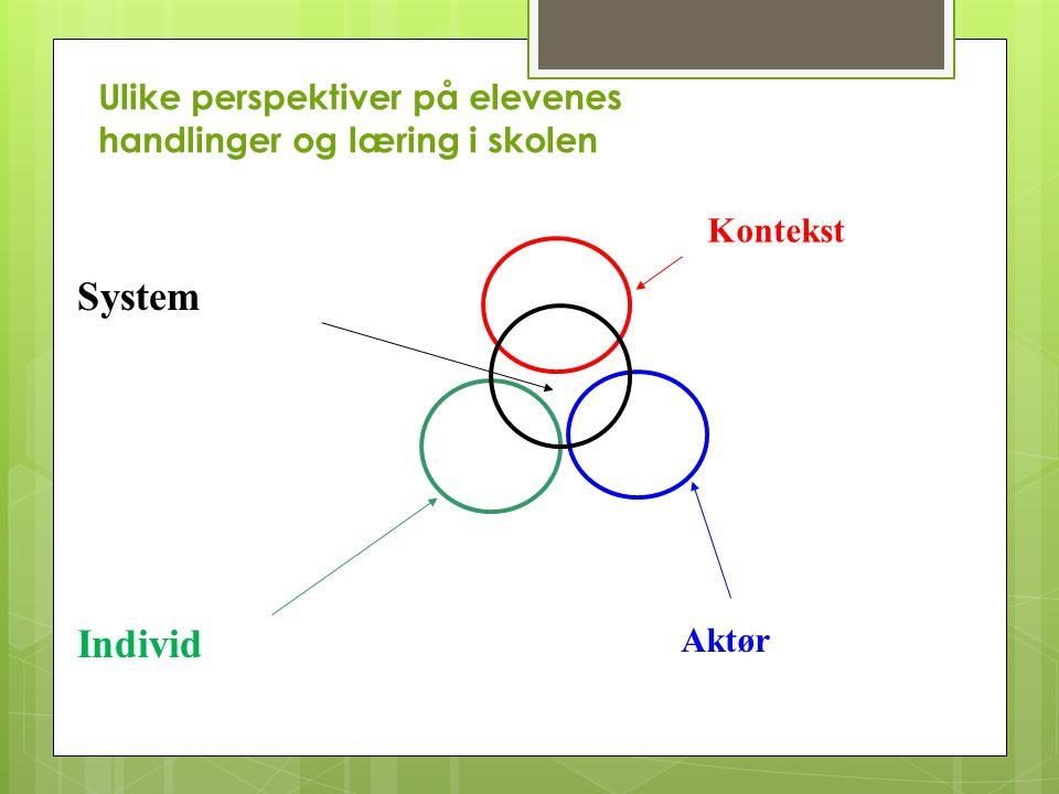 System Individ Ulike perspektiver på elevenes