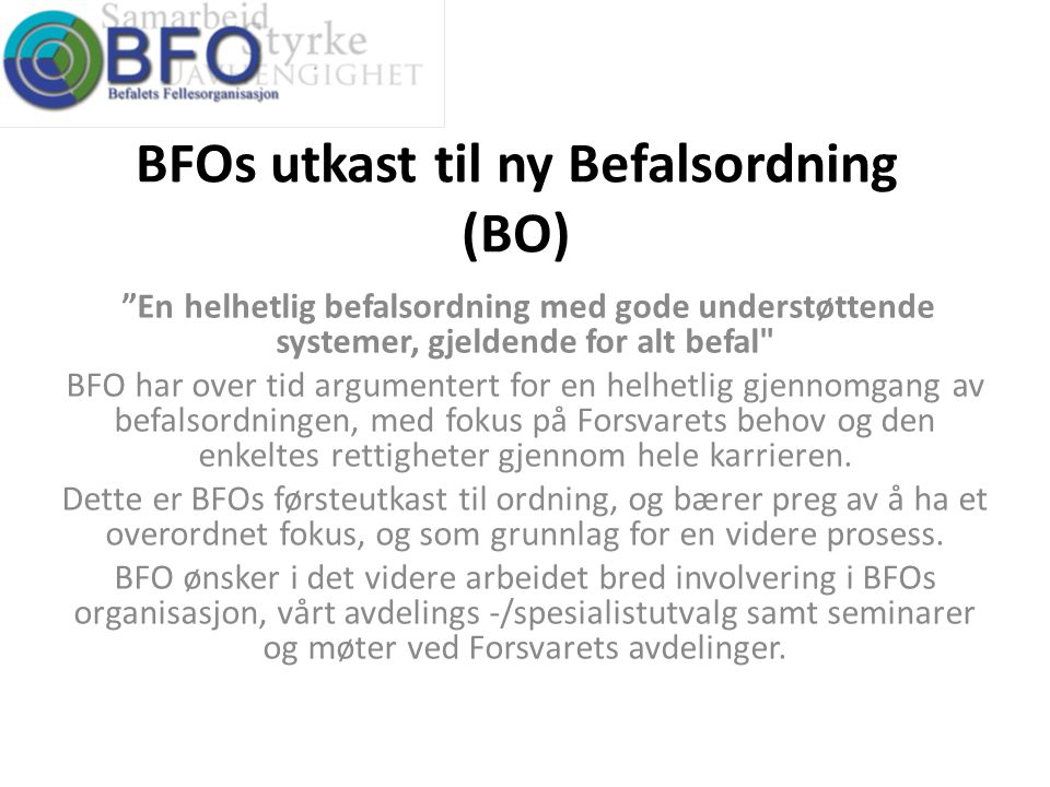BFOs utkast til ny Befalsordning (BO)
