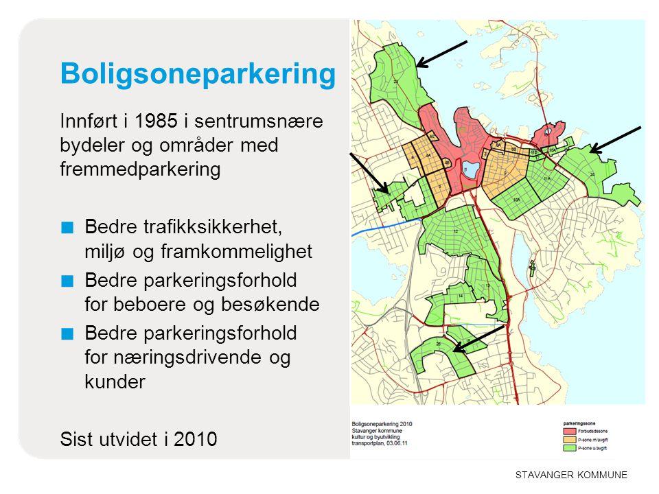 Boligsoneparkering Innført i 1985 i sentrumsnære bydeler og områder med fremmedparkering. Bedre trafikksikkerhet, miljø og framkommelighet.