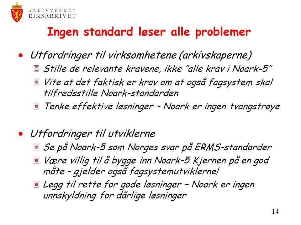 Ingen standard løser alle problemer