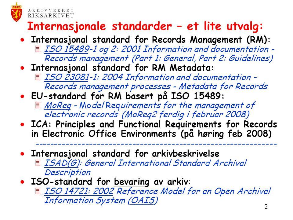 Internasjonale standarder – et lite utvalg: