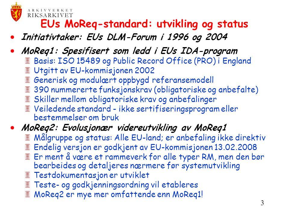 EUs MoReq-standard: utvikling og status