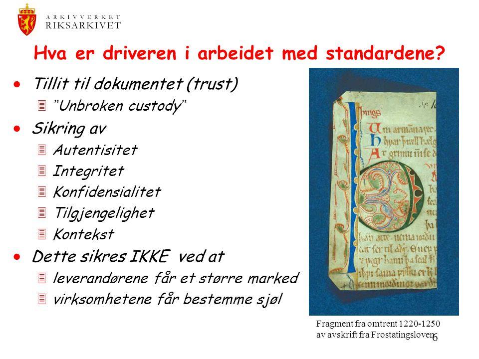 Hva er driveren i arbeidet med standardene