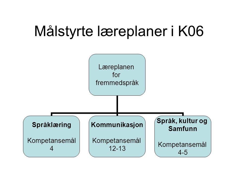 Målstyrte læreplaner i K06