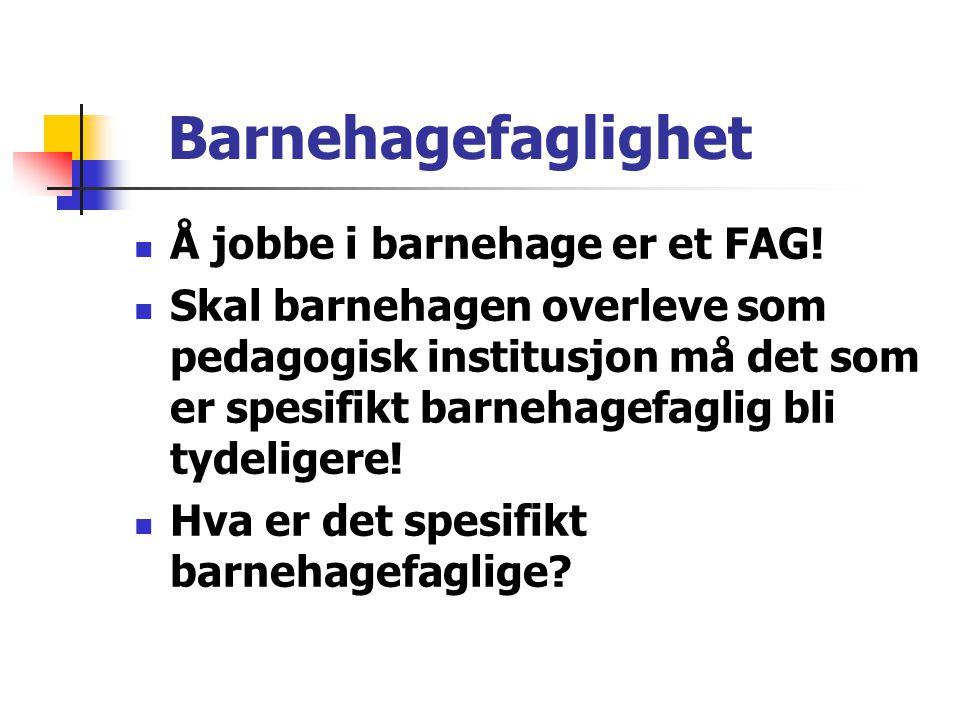 Barnehagefaglighet Å jobbe i barnehage er et FAG!