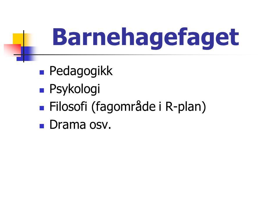 Barnehagefaget Pedagogikk Psykologi Filosofi (fagområde i R-plan)