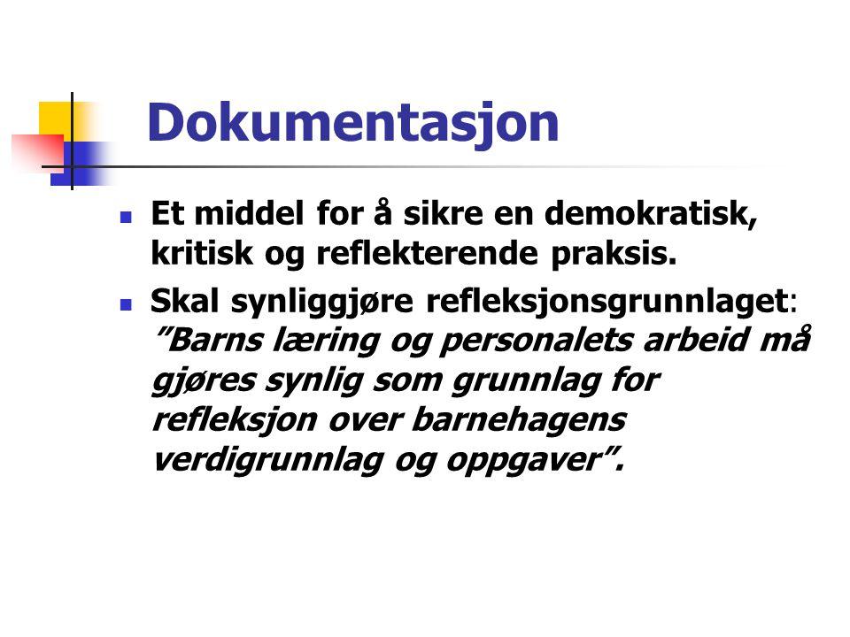 Dokumentasjon Et middel for å sikre en demokratisk, kritisk og reflekterende praksis.