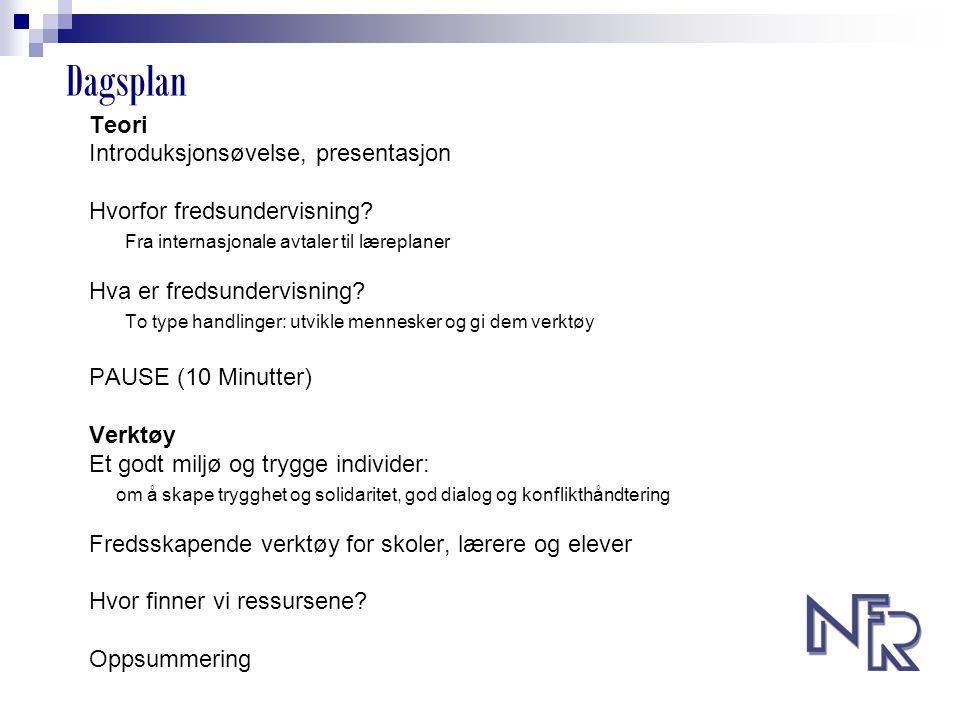 Dagsplan Teori Introduksjonsøvelse, presentasjon