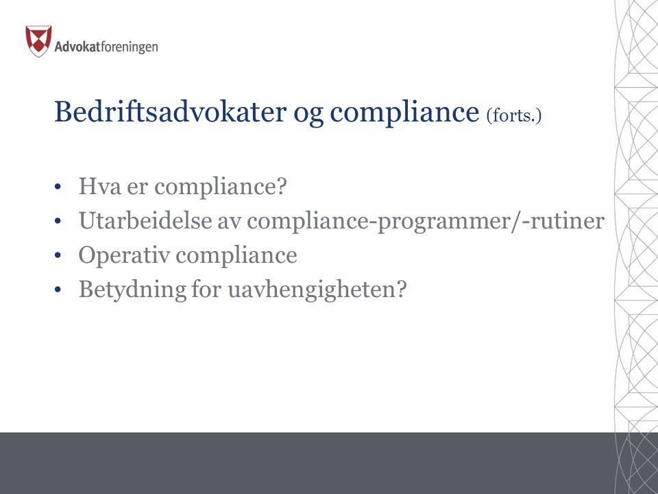 Bedriftsadvokater og compliance (forts.)